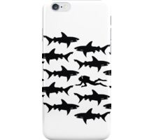 Diver in a School of Sharks iPhone Case/Skin