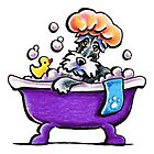 Schnauzer Bath Time by offleashart