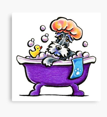 Schnauzer Bath Time Canvas Print