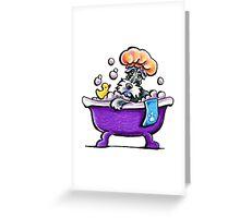 Schnauzer Bath Time Greeting Card