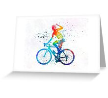 Woman triathlon cycling 03 Greeting Card