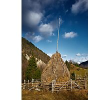 Hay stacks and mountains Photographic Print