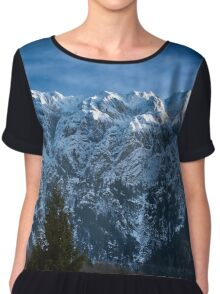Winter landscape with rocky mountains Chiffon Top