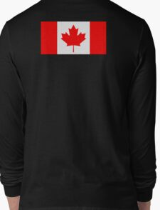 """Canadian Flag, National Flag of Canada, Canada, """"A Mari Usque Ad Mare""""  Pure & Simple on Black,  Long Sleeve T-Shirt"""