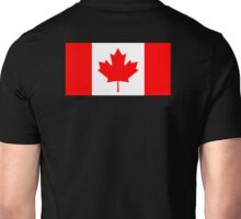 "Canadian Flag, National Flag of Canada, Canada, ""A Mari Usque Ad Mare""  Pure & Simple, on Black,  Unisex T-Shirt"