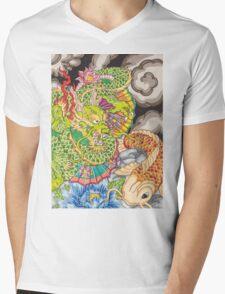 Koi dragon and koi fish Mens V-Neck T-Shirt
