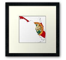 Flag Map of Florida  Framed Print