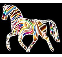 COOL, HORSE, Psychedelic Horse, Horse shape in gradient color, on BLACK Photographic Print