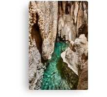 Lake inside of a cave Canvas Print