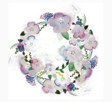 Tender watercolor flower print One Piece - Long Sleeve