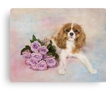 Cavalier King Charles Spaniel With Purple Roses Canvas Print