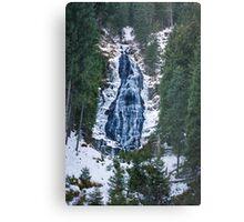Mountain waterfall on winter Metal Print