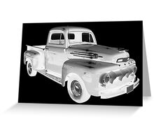 Black And White 1951 Ford F-1 Pickup Truck  Greeting Card