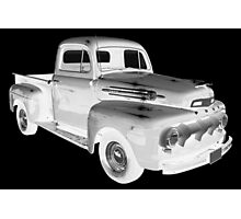 Black And White 1951 Ford F-1 Pickup Truck  Photographic Print