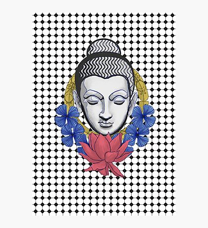Buddah and flowers Photographic Print