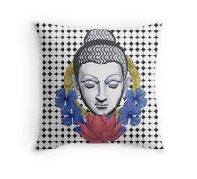 Buddah and flowers Throw Pillow