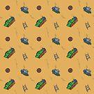 Happy Train pattern - yellow background by Thubakabra