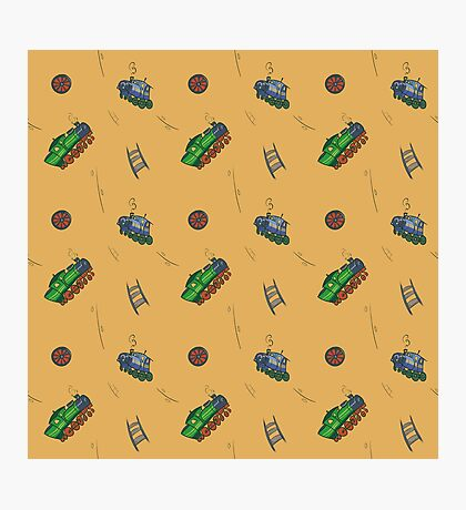 Happy Train pattern - yellow background Photographic Print