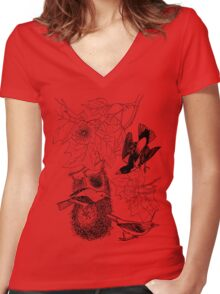 Fancy Weaving  Color Project.  Women's Fitted V-Neck T-Shirt