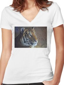 Eye Of The Tiger Women's Fitted V-Neck T-Shirt