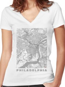 Philadelphia City Map Line Women's Fitted V-Neck T-Shirt