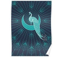 Peafowl On The Moon Poster