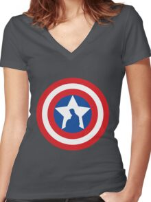 Cap's Shield Women's Fitted V-Neck T-Shirt