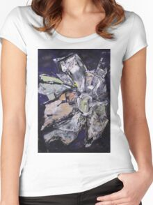 Martian Flower 4 - Original Art Large Wall Art Modern Abstract Expressionism Painting Women's Fitted Scoop T-Shirt