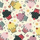 Cute Colorful Cupcakes Pattern, Beige Background by artonwear