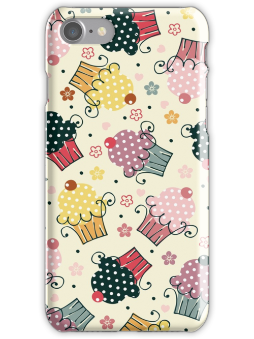 Cute Colorful Cupcakes Pattern, Beige Background by artonwear
