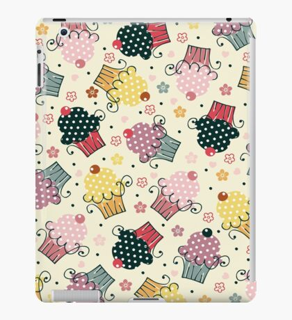 Cute Colorful Cupcakes Pattern, Beige Background iPad Case/Skin