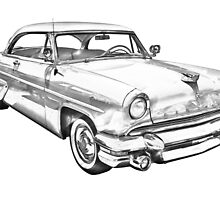 1955 Lincoln Capri Luxury Car Illustration by KWJphotoart