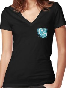Small Blue Splatter Bass & Treble Cleff  Women's Fitted V-Neck T-Shirt