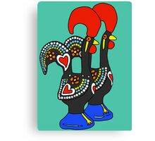 Portuguese Rooster Couple Canvas Print