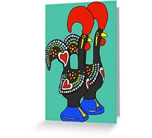 Portuguese Rooster Couple Greeting Card