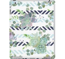 Green colorful succulent Echeveria seamless vector design print iPad Case/Skin