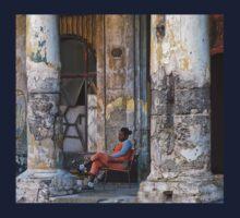 pillars and young woman in orange- Havana, Cuba Kids Tee