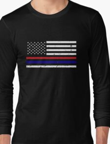Thin Blue Red Line Flag Long Sleeve T-Shirt