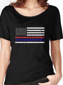 Thin Blue Red Line Flag Women's Relaxed Fit T-Shirt