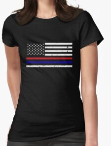 Thin Blue Red Line Flag Womens Fitted T-Shirt
