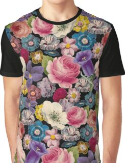 Retro Floral Collage Graphic T-Shirt