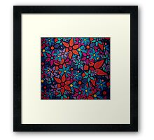 Retro Trendy Floral Pattern Framed Print