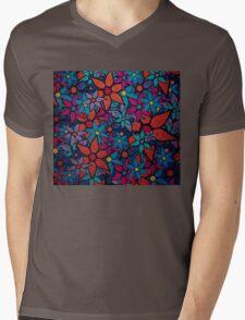 Retro Trendy Floral Pattern Mens V-Neck T-Shirt