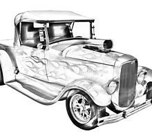 Model A Ford Pickup Hot Rod Illustration by KWJphotoart