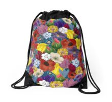 Retro Floral Collage illustration Drawstring Bag