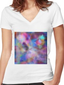 Usonian Dreams (Square Version) - By John Robert Beck Women's Fitted V-Neck T-Shirt