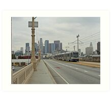 Los Angeles Gold Line With Skyline Art Print