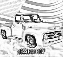 1955 F100 Ford Pickup Truck and Flag Illustration by KWJphotoart
