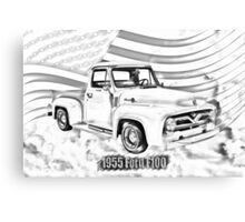 1955 F100 Ford Pickup Truck and Flag Illustration Canvas Print