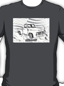 1955 F100 Ford Pickup Truck and Flag Illustration T-Shirt